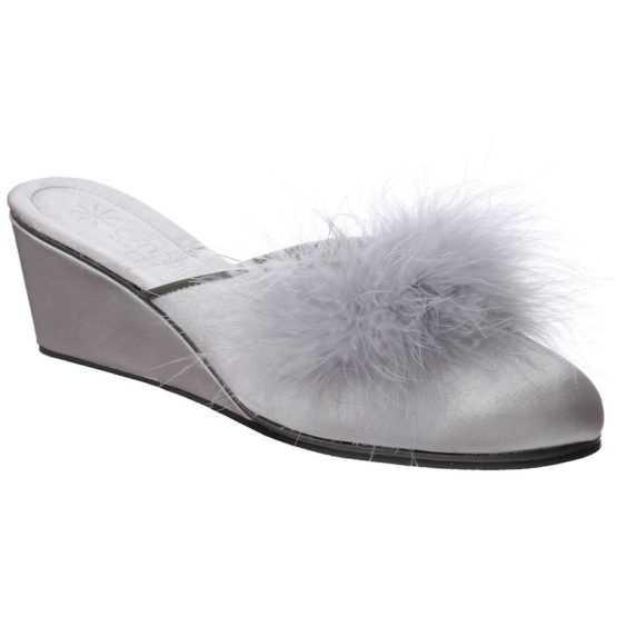 Pantofole da Donna Beatrice Grigio Perla con Marabou