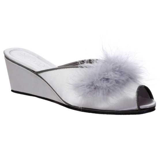 Pantofole da Donna Claudia Grigio Perla con Marabou