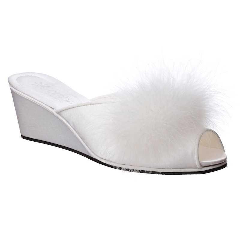 Pantofole da Sposa Claudia Bianca con Marabou