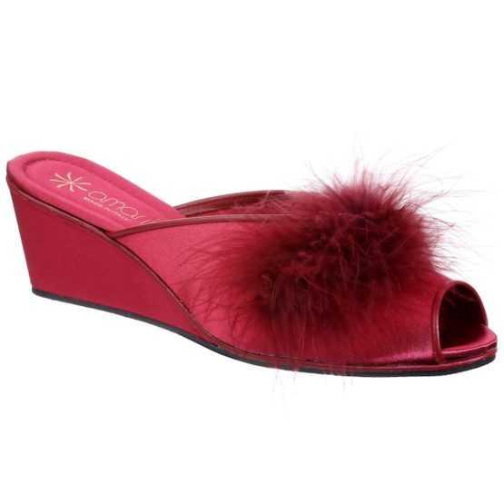Pantofole da Donna Claudia Bordeaux con Marabou