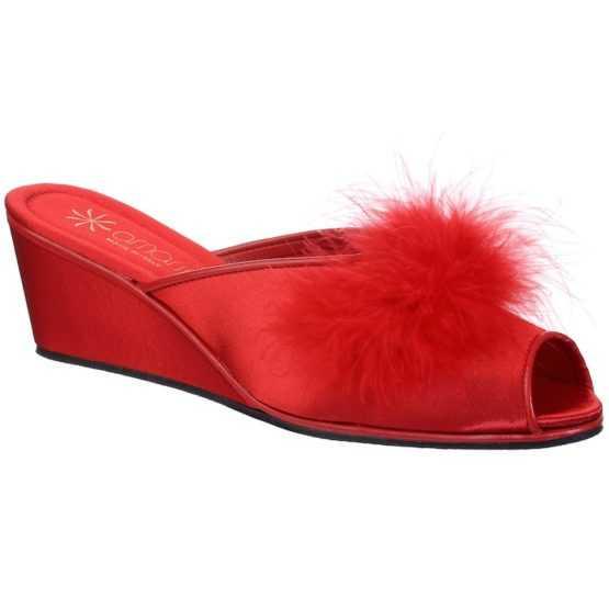 Pantofole da Donna Claudia Rossa con Marabou