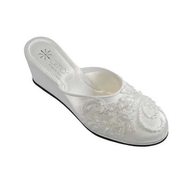 genuino elegante vendite all'ingrosso Pantofole da Sposa Beatrice Bianca con Pizzo