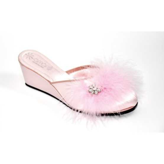 Pantofola Donna Beatrice Rosa Marabou Strass di Amarilli